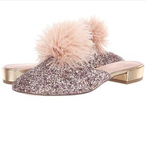 Kate Spade Rose gold glitter gala evening shoes